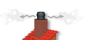 Round exodraft chimney fan mounted on brick chimney illustration